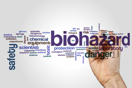 Biohazard word cloud concept on grey background. Stock Photo