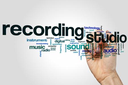 Recording studio word cloud concept on grey background