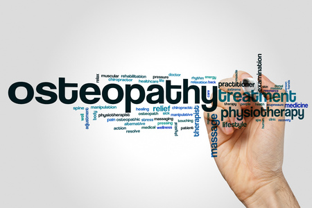 Osteopathy word cloud concept on grey background