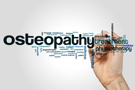 Osteopathie woord wolk concept op een grijze achtergrond