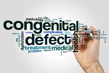 pathogenesis: Congenital defect word cloud concept on grey background.