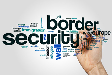 naturalization: Border security word cloud concept on grey background. Stock Photo