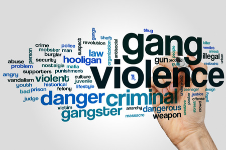 Gang violence word cloud concept on grey background Stock Photo