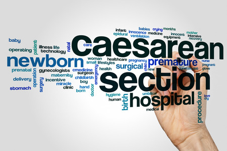 Caesarean section word cloud concept on grey background.