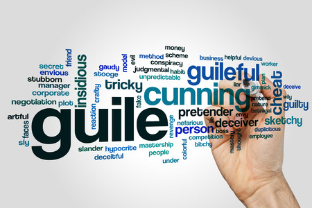 guile: Guile word cloud concept on grey background Stock Photo