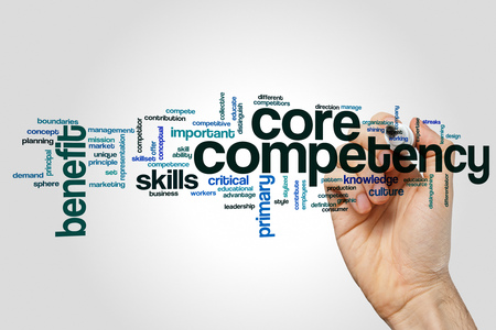 Core competency word cloud concept on grey background.