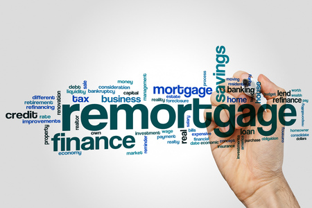 Remortgage word cloud concept on grey background Stock Photo
