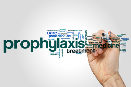 Prophylaxis word cloud concept on grey background