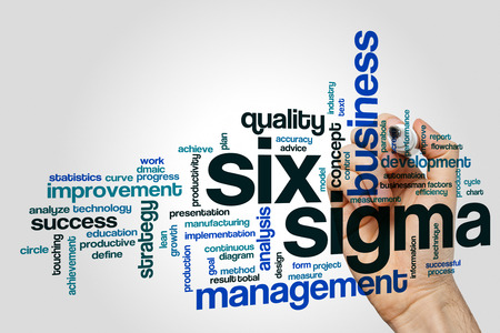 Six sigma word cloud concept on grey background