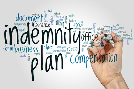 Indemnity plan word cloud concept on grey background