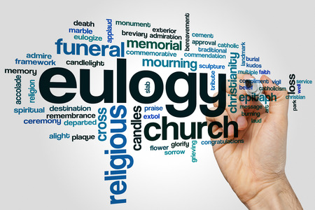 Eulogy word cloud concept on grey background.