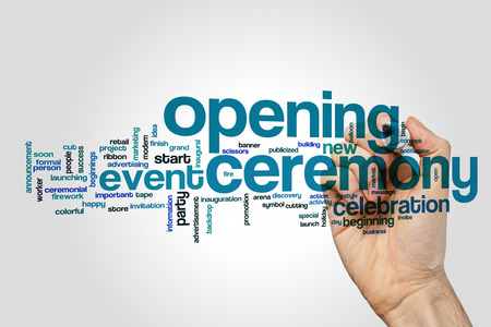 Opening ceremony word cloud on grey background