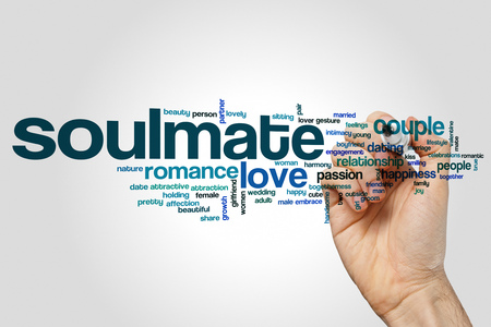 soulmate: Soulmate word cloud concept on grey background Stock Photo