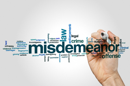 Misdemeanor word cloud concept on grey background Stock Photo