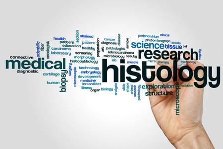 Histology word cloud concept on grey background