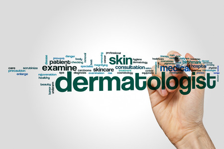 Dermatologist word cloud concept on grey background.