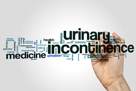 sphincter: Urinary incontinence word cloud concept on grey background Stock Photo