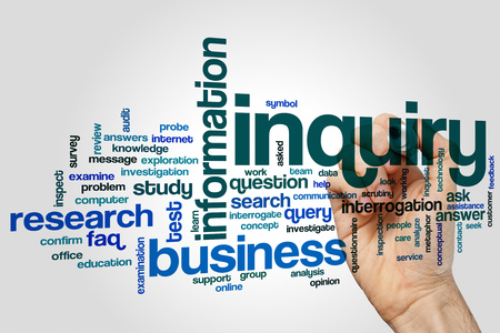 inquiry: Inquiry word cloud concept on grey background