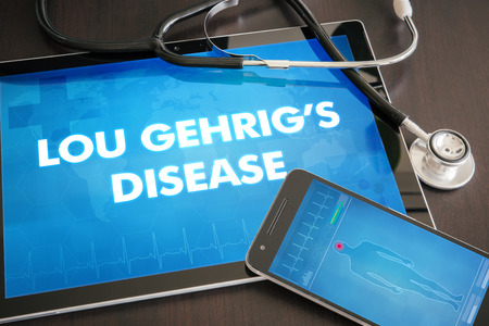 gehrig: Lou Gehrigs disease (neurological disorder) diagnosis medical concept on tablet screen with stethoscope. Stock Photo