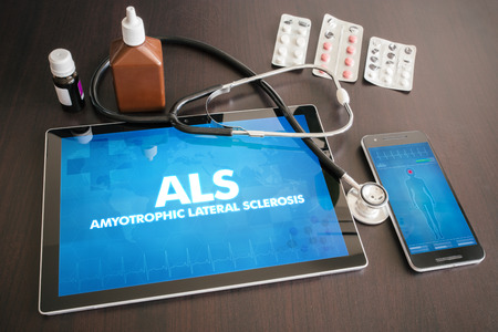 ALS (neurological disorder) diagnosis medical concept on tablet screen with stethoscope. Stock fotó