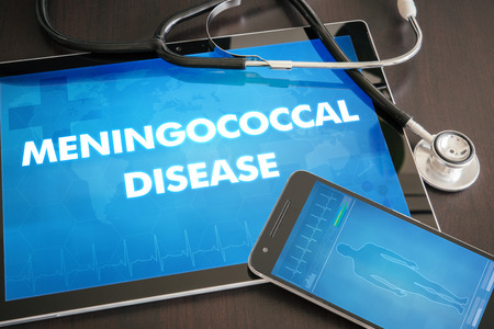 Meningococcal disease (infectious disease) diagnosis medical concept on tablet screen with stethoscope.