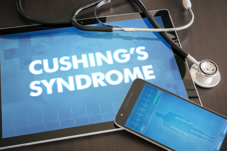 Cushings syndrome (neurological disorder) diagnosis medical concept on tablet screen with stethoscope.