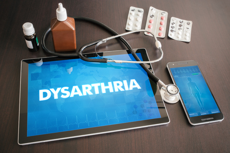 Dysarthria (neurological disorder) diagnosis medical concept on tablet screen with stethoscope. Stock Photo