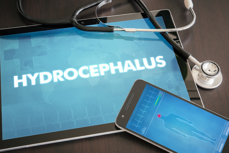 Hydrocephalus (neurological disorder) diagnosis medical concept on tablet screen with stethoscope.