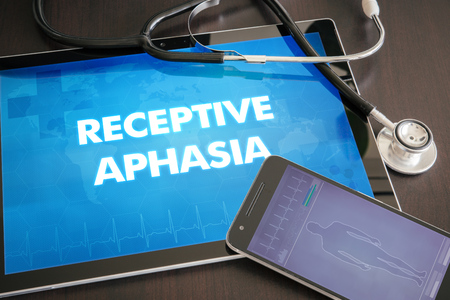 receptive: Receptive aphasia (communication disorder) diagnosis medical concept on tablet screen with stethoscope. Stock Photo