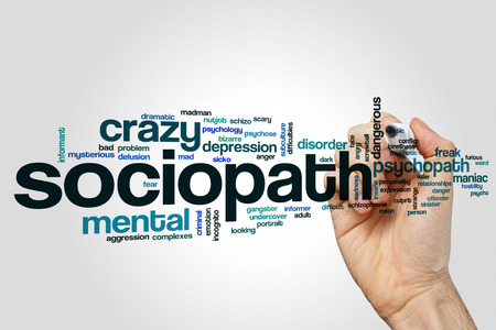 Sociopath word cloud concept on grey background