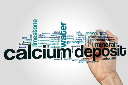 Calcium deposit word cloud concept on grey background. Stock Photo