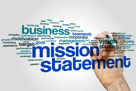 Mission statement word cloud concept on grey background