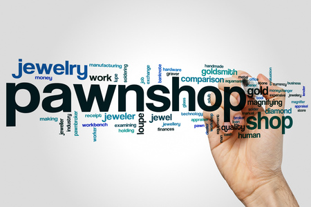 Pawnshop word cloud concept on grey background