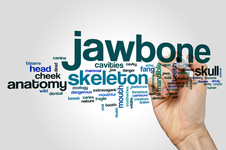 Jawbone word cloud concept on grey background Banco de Imagens