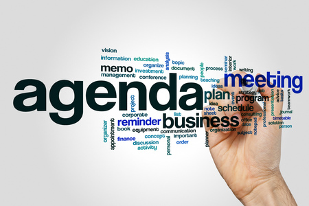Agenda word cloud concept on grey background.