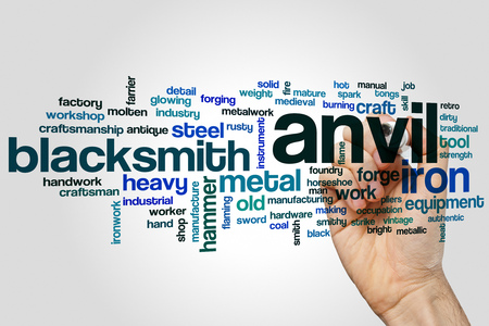 Anvil word cloud concept on grey background.