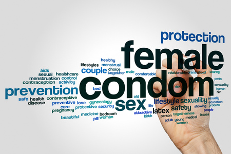 Female condom word cloud concept on grey background.