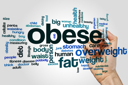 Obese word cloud concept on grey background