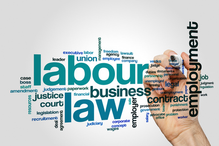 Labour law word cloud on grey background