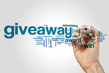 Giveaway word cloud concept on grey background Banco de Imagens