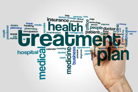 Treatment plan word cloud concept on grey background