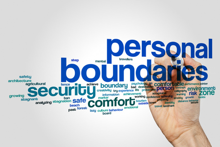 Personal boundaries word cloud concept on grey background