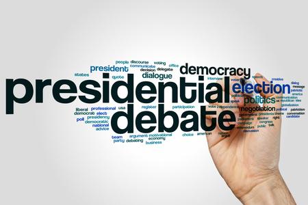 democrat party: Presidential debate word cloud on grey background