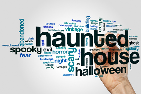 Haunted house word cloud concept on grey background