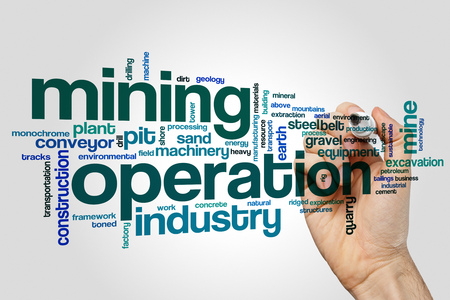 Mining operation word cloud concept on grey background