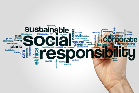 Social responsibility word cloud concept on grey background