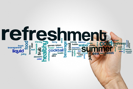 Refreshment word cloud concept on grey background