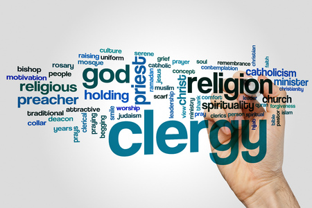 Clergy word cloud concept on grey background.