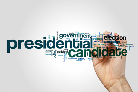 Presidential candidate word cloud concept on grey background