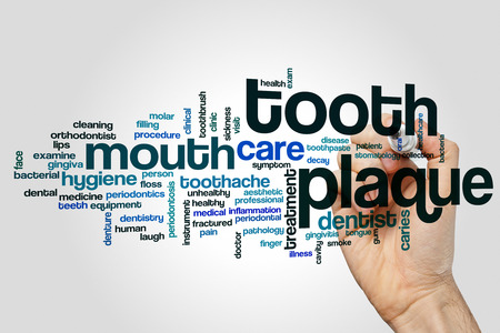 Tooth plaque word cloud concept on grey background